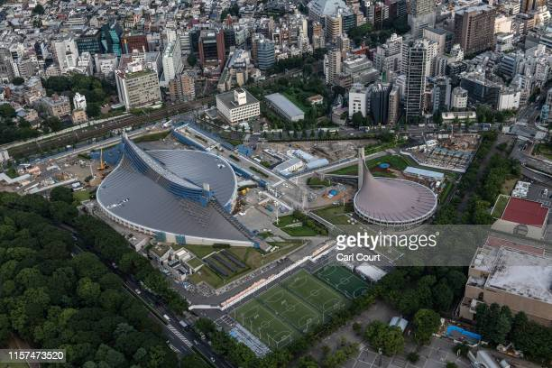 Yoyogi National Stadium which will host handball during the 2020 Olympics is pictured on July 24, 2019 in Tokyo, Japan. Preparation is continuing on...