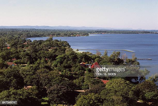Ypacarai lake surrounded by vegetation San Bernardino Cordillera department Paraguay