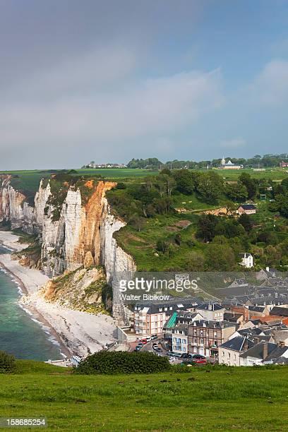 yport, town and cliffs, elevated view - haute normandie stockfoto's en -beelden