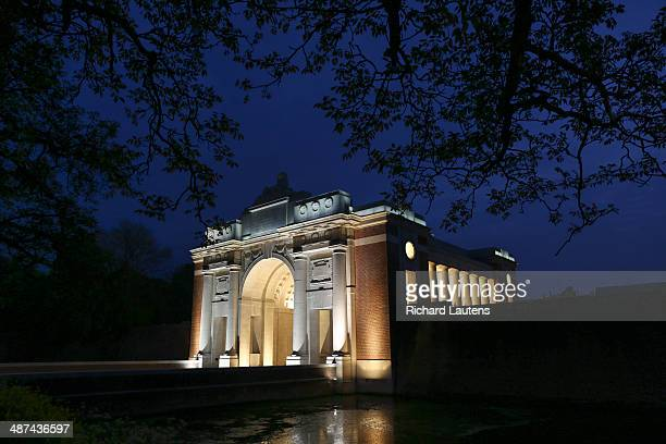 Ypres Belgium April 24 The Menin Gate is part of the route the soldiers would have taken to the front and now is a memorial for the nearly 55000...