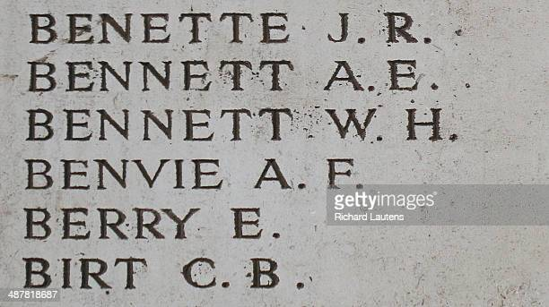 Ypres, Belgium - April 26 - AF Benvie The Menin Gate is inscribed with the names of 54,000 WW1 commonwealth soldiers who's bodies were never...