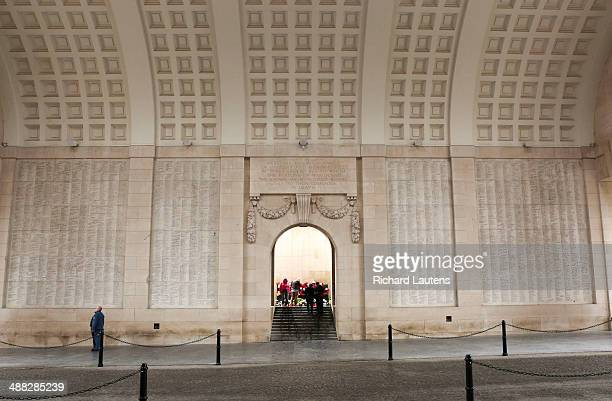 Ypres Belgium April 26 The Menin Gate is inscribed with the names of 54896 names ofWW1 commonwealth soldiers who's bodies were never identified Every...