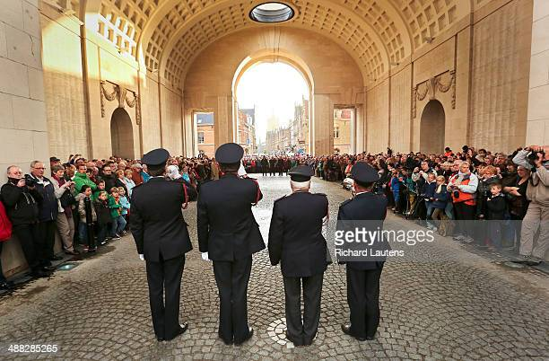 Ypres Belgium April 26 Volunteer firefighters perform the Last Post at the Menin Gate as they have done nightly since 1928 The Menin Gate is...