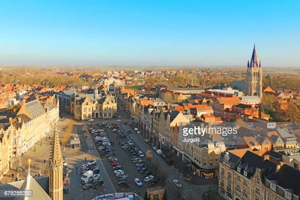 Ypres Town in Belgium Aerial View