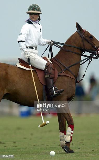 39 yr old Dawn Maria Laurel playing polo at International Polo Club Palm Beach February 6 2004 in Wellington Florida