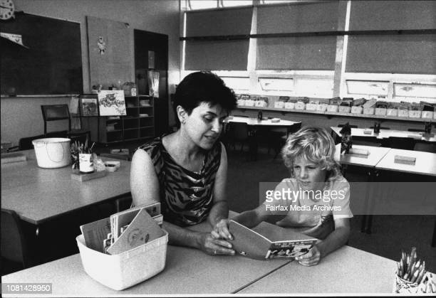 7 yr old Nick Jones of Curl curl with Miss Mira Roljak a reading recovery teacher at Curl curl North Infants SchoolNick Jones wants to read 'long...