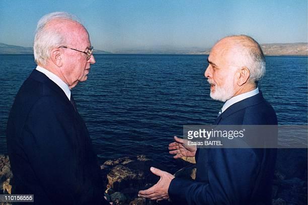 Rabin and Hussein of Jordan at the Kinneret lake in , Israel on November 10, 1994.