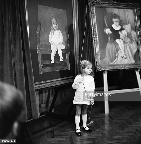3 yrs old Justine Hornby unveils her portrait at the Painters Hall City of London today December 1969 Z11504003