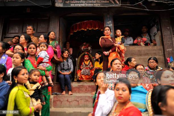 5 yrs old Living goddess of Patan Nihira Bajracharya arrive to observe the Chariot Pulling Festival of Rato Machindranath 'God of Rain' from...