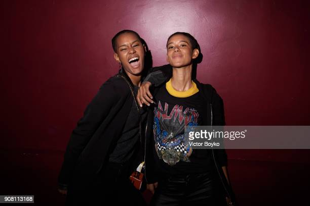 Ysaunny Brito and Dilone attend the Balmain Homme Menswear Fall/Winter 20182019 aftershow as part of Paris Fashion Week on January 20 2018 in Paris...