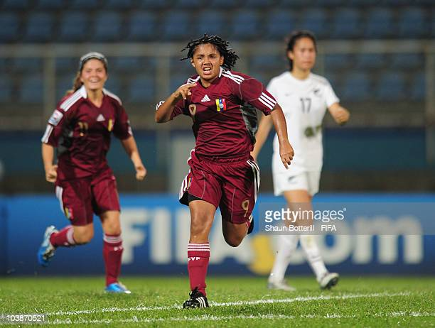Ysaura Viso of Venezuela celebrates after scoring during the FIFA U17 Women's World Cup Group C match between New Zealand and Venezuela at the Ato...