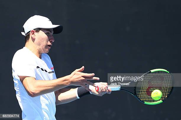 Yshai Oliel of Israel competes in his first round match against Francesco Forti of Italy during the Australian Open 2017 Junior Championships at...