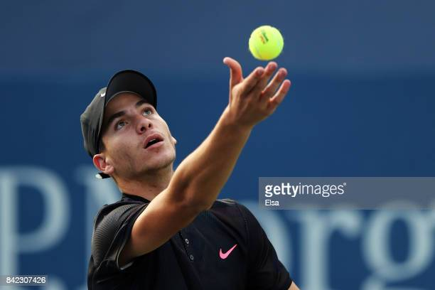 Yshai Oliel of Israel in action against Ryan Goetz of the United States during their boy's singles first round match on Day Seven of the 2017 US Open...