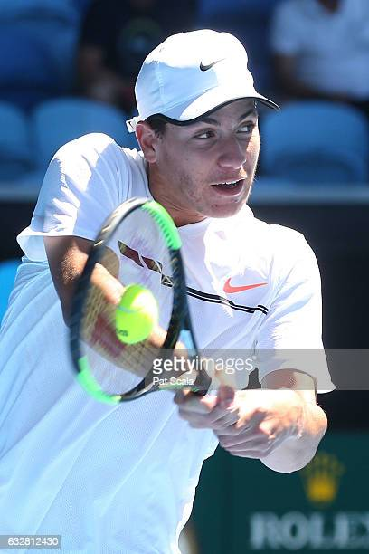 Yshai Oliel of Israel plays a shot in his junior boys semefinal match against Yibing Wu of China during the Australian Open 2017 Junior Championships...