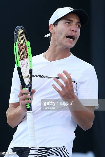 Yshai Oliel of Israel reacts in his Junior Boys Singles Final against Zsombor Piros of Hungary during the Australian Open 2017 Junior Championships...