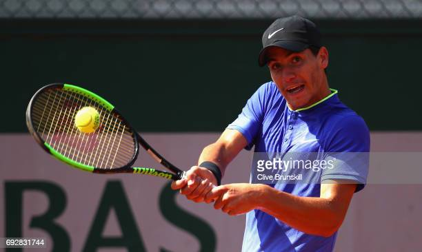 Yshai Oliel of Isreal in action during boys singles match against Tibo Colson of Belgium on day nine of the 2017 French Open at Roland Garros on June...
