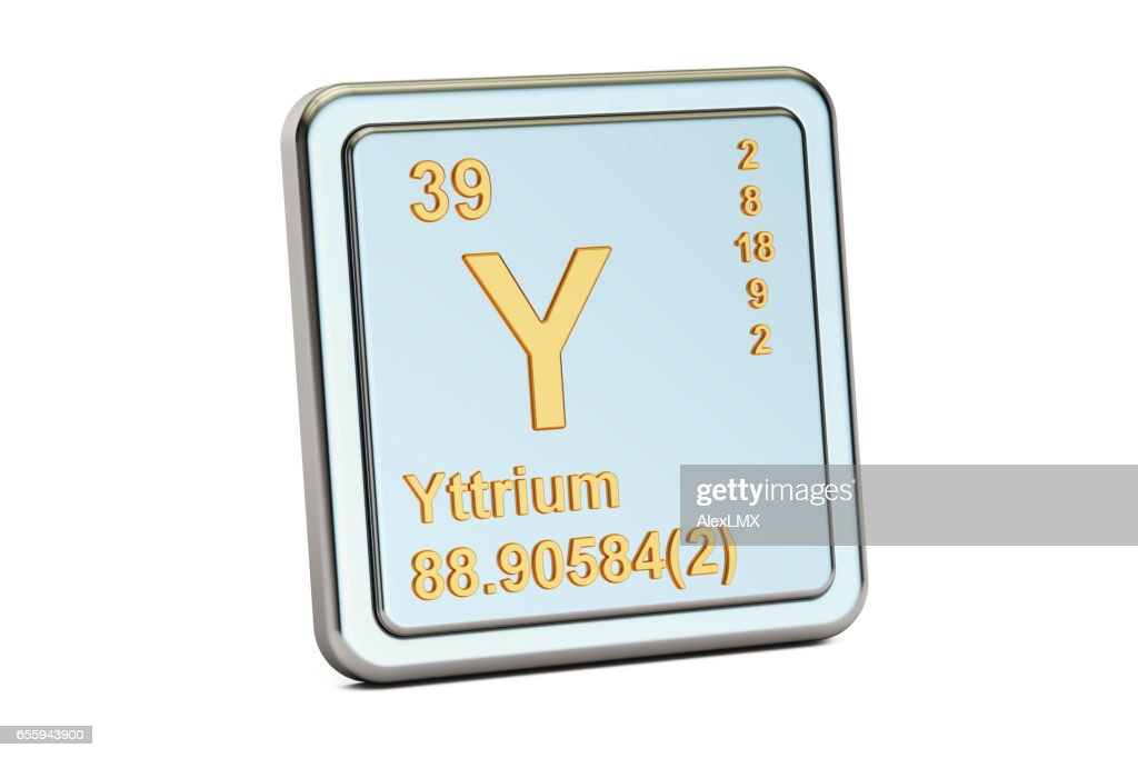 Yttrium Y Chemical Element Sign 3d Rendering Isolated On White