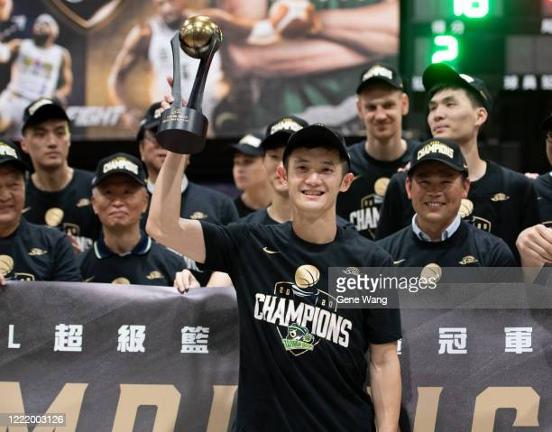 Yu An Chiang of Taiwan Beer get selected as final mvp after winning the SBL Finals Game Six between Taiwan Beer and Yulon Luxgen Dinos at Hao Yu...