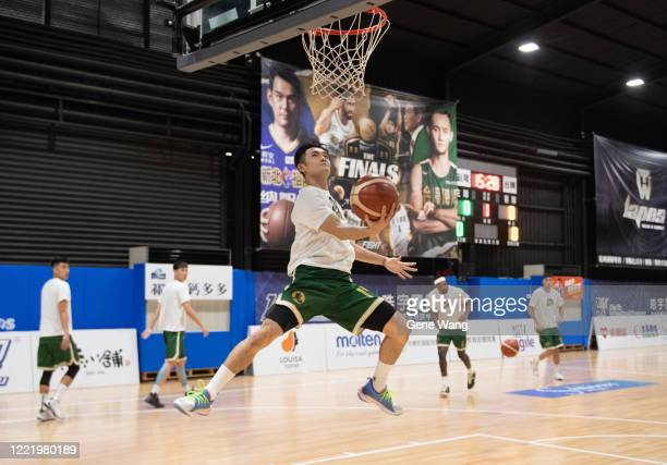 Yu An Chiang of Taiwan Beer practices prior to the SBL Finals Game Six between Taiwan Beer and Yulon Luxgen Dinos at Hao Yu Trainning Center on April...