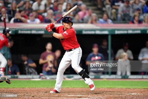 Yu Chang of the Cleveland Indians at bat during the fifth inning against the Detroit Tigers at Progressive Field on September 19 2019 in Cleveland...