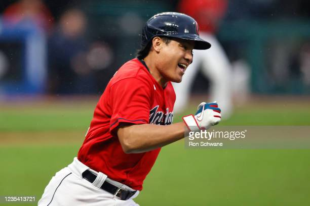 Yu Chang of the Cleveland Indians runs out a three-run triple off Daniel Lynch of the Kansas City Royals during the first inning at Progressive Field...