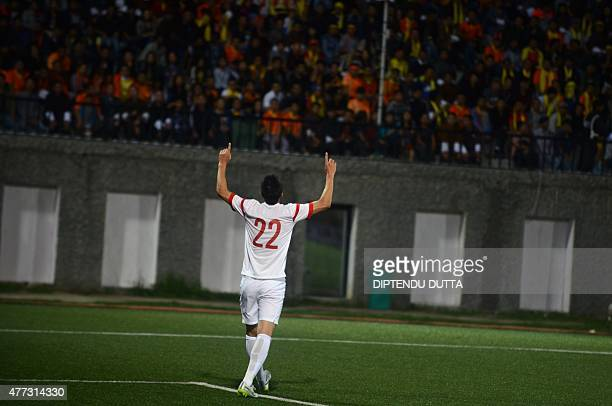 Yu Dabao of China celebrates after he scored a goal against Bhutan during the Asia Group C FIFA World Cup 2018 qualifying football match between...