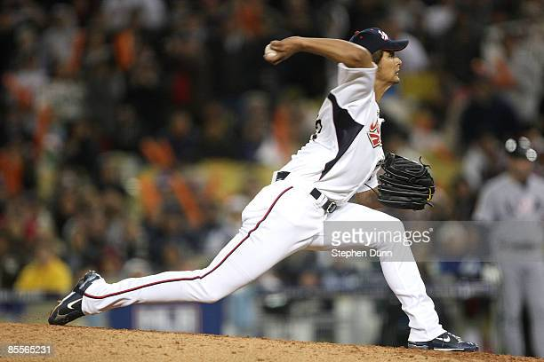 Yu Darvish of Japan delivers a pitch against the United States in the semifinal game of the 2009 World Baseball Classic on March 22, 2009 at Dodger...