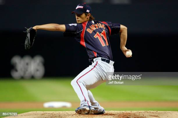 Yu Darvish of Japan pitches against Korea during the 2009 World Baseball Classic Round 2 Pool 1 Game 4 on March 17, 2009 at Petco Park in San Diego,...