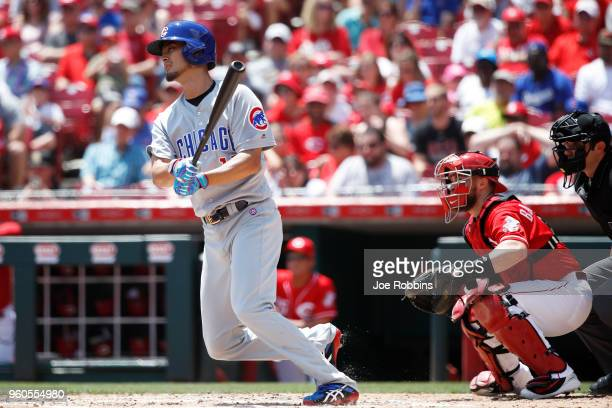 Yu Darvish of the Chicago Cubs grounds out while batting in the second inning against the Cincinnati Reds at Great American Ball Park on May 20 2018...