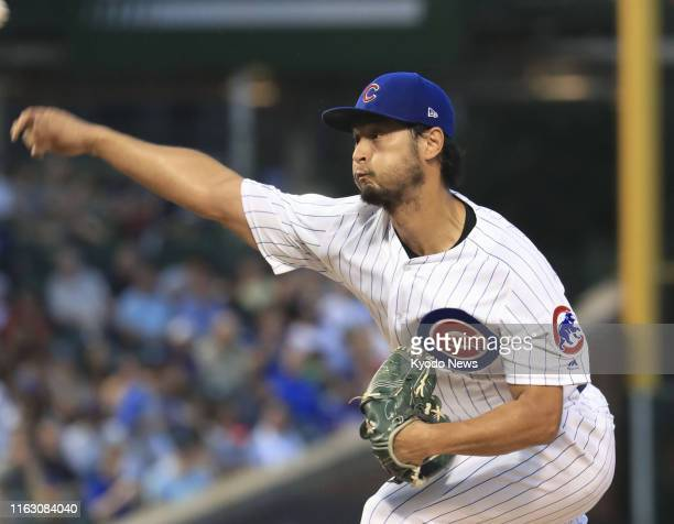 Yu Darvish of the Chicago Cubs pitches against the San Francisco Giants at Wrigley Field in Chicago on Aug 21 2019 ==Kyodo