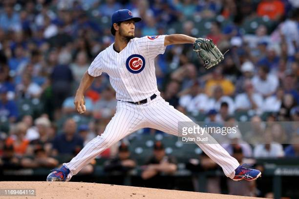 Yu Darvish of the Chicago Cubs pitches in the first inning against the San Francisco Giants at Wrigley Field on August 21 2019 in Chicago Illinois