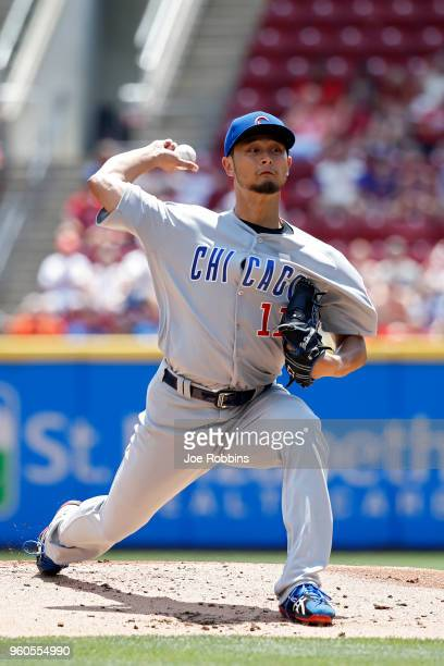 Yu Darvish of the Chicago Cubs pitches in the first inning against the Cincinnati Reds at Great American Ball Park on May 20 2018 in Cincinnati Ohio