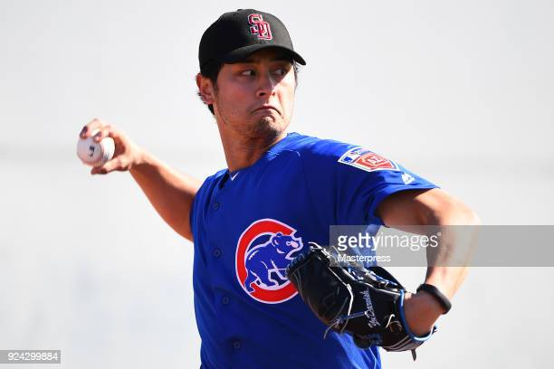 Yu Darvish of the Chicago Cubs pitches in the spring training on February 24 2018 in Mesa Arizona