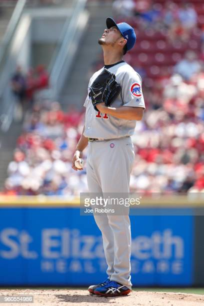Yu Darvish of the Chicago Cubs reacts in between pitches in the first inning against the Cincinnati Reds at Great American Ball Park on May 20 2018...