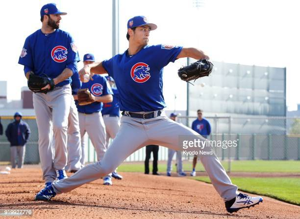 Yu Darvish of the Chicago Cubs throws in the bullpen at the club's spring training site in Mesa Arizona on Feb 17 2018 ==Kyodo