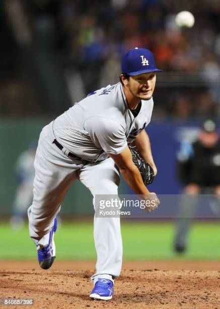 Yu Darvish of the Los Angeles Dodgers pitches against the San Francisco Giants at ATampT Park in San Francisco on Sept 13 2017 ==Kyodo