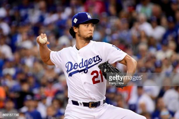 Yu Darvish of the Los Angeles Dodgers pitches in the first inning against the Houston Astros in game seven of the 2017 World Series at Dodger Stadium...