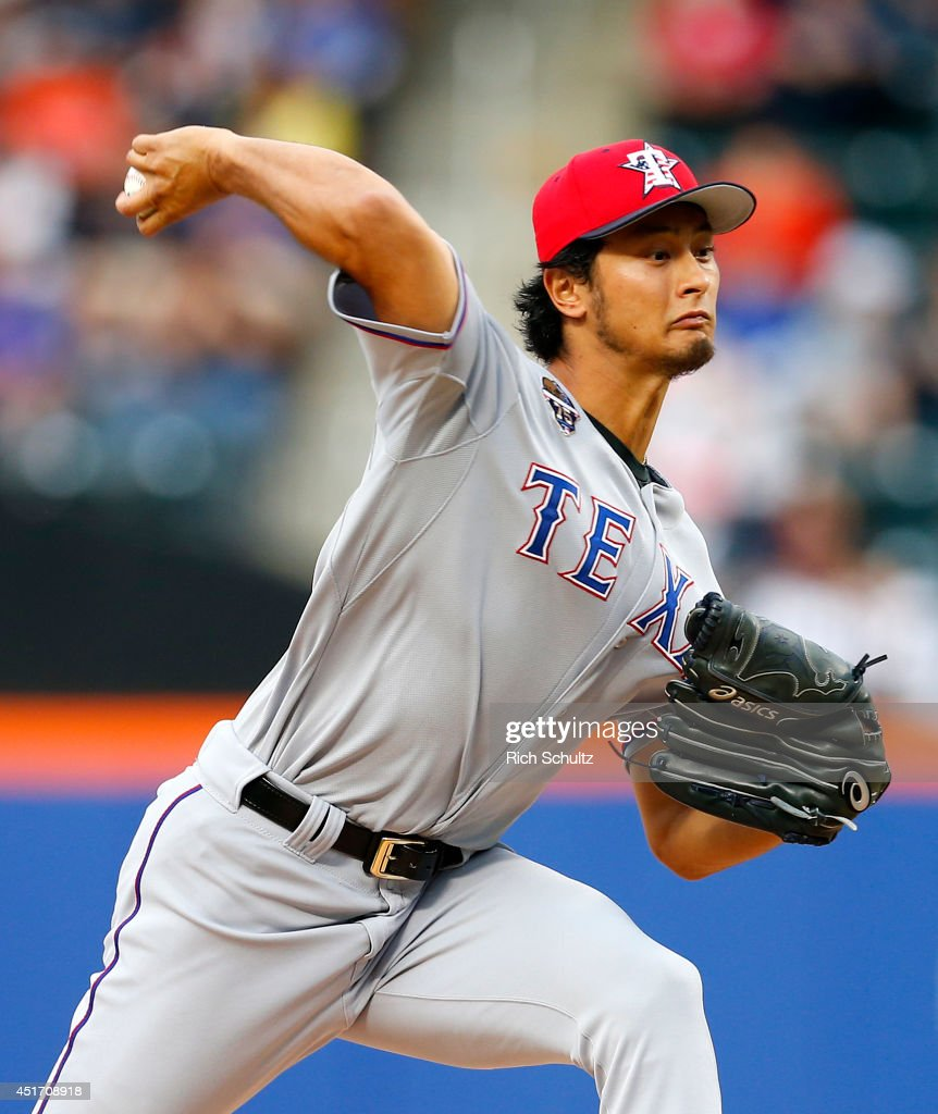 Yu Darvish #11 of the Texas Rangers delivers a pitch during the first inning against the New York Mets on July 4, 2014 at Citi Field in the Flushing neighborhood of the Queens borough of New York City.