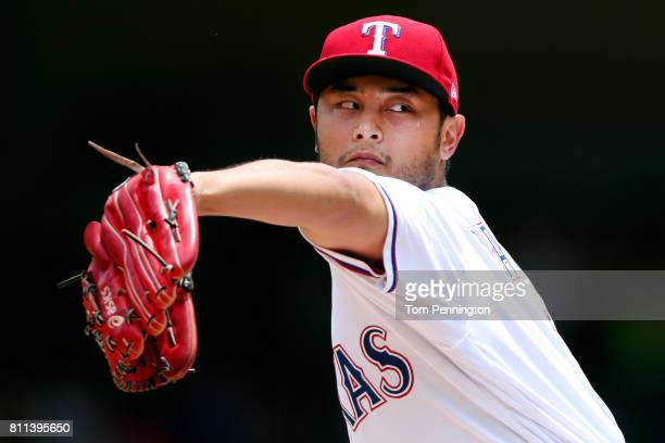 Yu Darvish of the Texas Rangers pitches against the Los Angeles Angels in the top of the first inning at Globe Life Park in Arlington on July 9 2017...