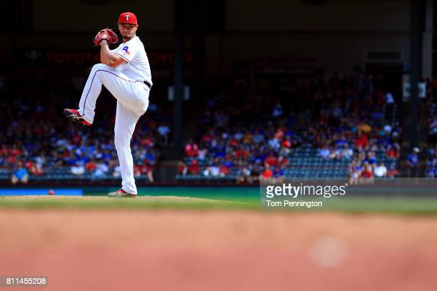 Yu Darvish of the Texas Rangers pitches against the Los Angeles Angels in the top of the eighth inning at Globe Life Park in Arlington on July 9 2017...