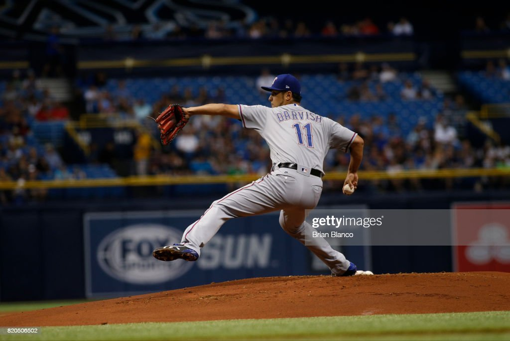 Yu Darvish #11 of the Texas Rangers pitches during the first inning of a game against the Tampa Bay Rays on July 21, 2017 at Tropicana Field in St. Petersburg, Florida.