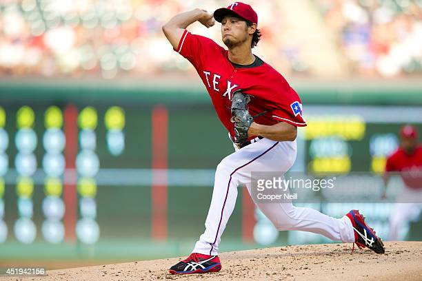 Yu Darvish of the Texas Rangers pitches during the second inning against the Houston Astros on July 9 2014 at Globe Life Park in Arlington in...