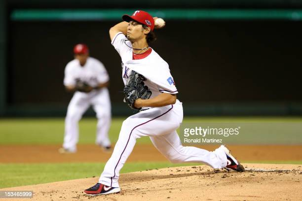 Yu Darvish of the Texas Rangers throws a pitch against the Baltimore Orioles during the American League Wild Card playoff game at Rangers Ballpark in...