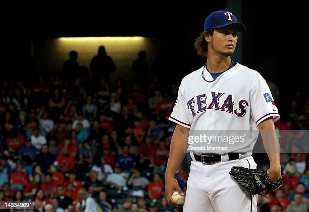 Yu Darvish of the Texas Rangers throws against the New York Yankees at Rangers Ballpark in Arlington on April 24, 2012 in Arlington, Texas.