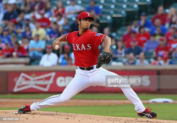 Yu Darvish of the Texas Rangers throws against the Toronto Blue Jays in the second inning at Globe Life Park in Arlington on May 16 2014 in Arlington...