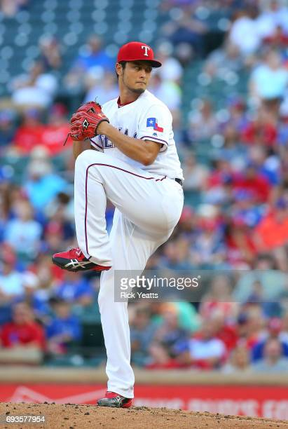 Yu Darvish of the Texas Rangers throws in the first inning Against the New York Mets at Globe Life Park in Arlington on June 7 2017 in Arlington Texas