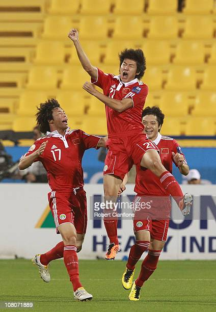 Yu Hai of China P.R clelebrates his goal during the AFC Asian Cup Group A match between China P.R and Uzbekistan at AL Gharafa Stadium on January 16,...