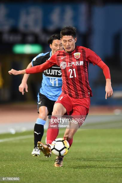Yu Hai of Shanghai SIPG in action during the AFC Champions League Group F match between Kawasaki Frontale and Shanghai SIPG at Todoroki Stadium on...