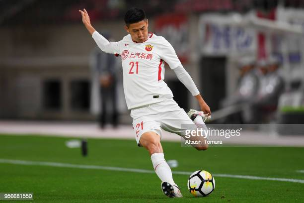 Yu Hai of Shanghai SIPG in action during the AFC Champions League Round of 16 first leg match between Kashima Antlers and Shanghai SIPG at Kashima...