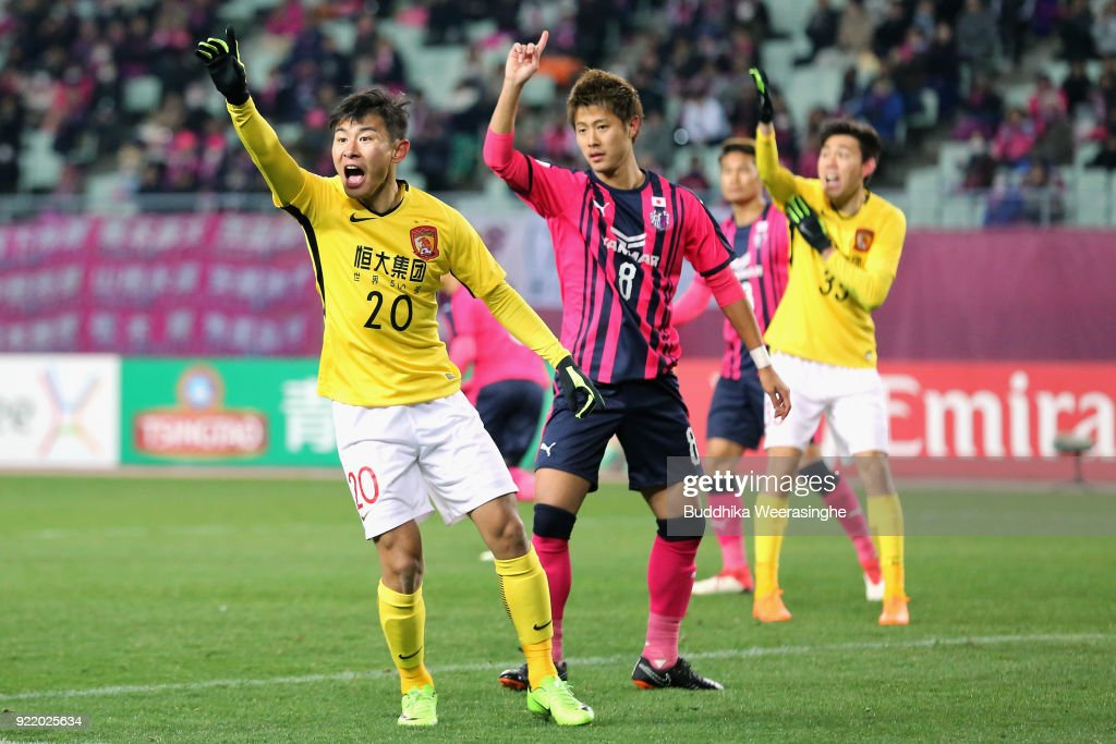Yu Hanchao of Guangzhou Evergrande appeals to match officials during the AFC Champions League Group G match between Cerezo Osaka and Gunazhou Evergrande at the Yanmar Stadium Nagai on February 21, 2018 in Osaka, Japan.